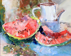 Texture Oil Painting, Still Life fruit watermelon and grapes, ar