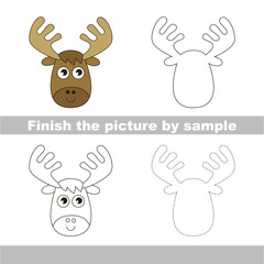 Elk. Drawing worksheet.