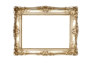 Gold picture frame isolated on white background with clipping path.