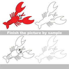 Lobster. Drawing worksheet.