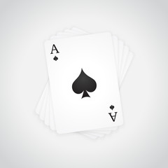 Ace of Spades at the top of the deck of cards