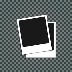blank retro photo frame over white