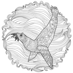 Hand drawn swimming seal with high details