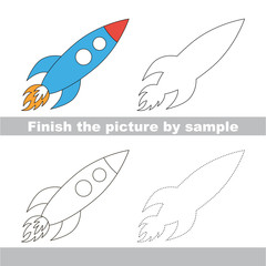 Rocket. Drawing worksheet.