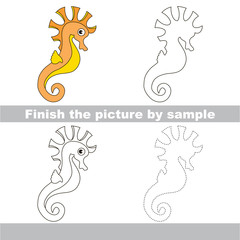 Seahorse. Drawing worksheet.