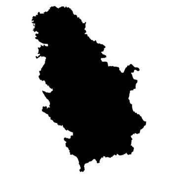 Serbia black map on white background vector
