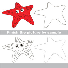Starfish. Drawing worksheet.