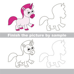 Unicorn. Drawing worksheet.