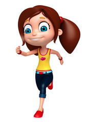 3D Render of Little Girl with running pose
