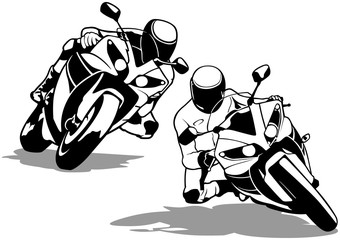 Motorcycle Biker Set - Black And White Outline Illustrations, Vector