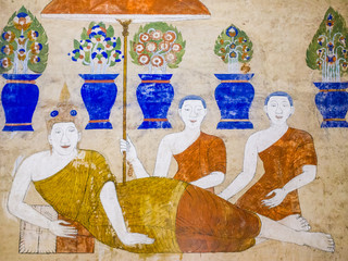 tradition Thai Painting on the wall of the church in the temple.