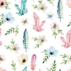 Seamless pattern with feathers, minerals, flowers. Vector illustration