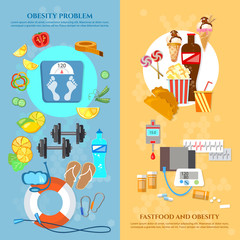 Obesity problem banner unhealthy eating diet
