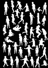 children silhouettes large collection isolated on black