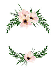 Floral wreath. Watercolor hand drawn