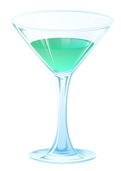 Blue tipple cocktail in glass goblet on stem. Alcohol strong drink
