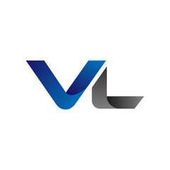 Modern Simple Initial Logo Vector Blue Grey Letters vl