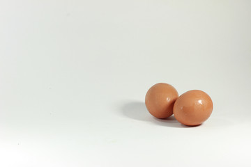 Close-up eggs, White background.