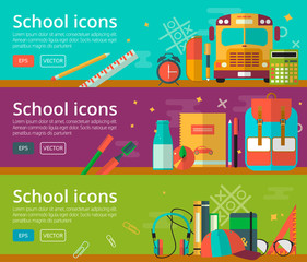 Vector flat design of education concepts. Horizontal banners with student objects. Back to school background for web