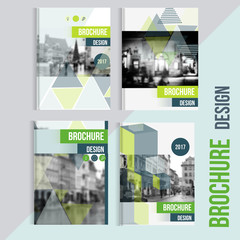 Set of Vector brochure cover templates with blured city landscape. Business brochure cover design, flyer brochure cover, professional corporate brochure  cover.