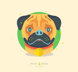 Vector illustration of funny pug dog. Cute animal character for print, poster, card. Puppy icon. Home pet.