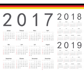Set of German 2017, 2018, 2019 year vector calendars