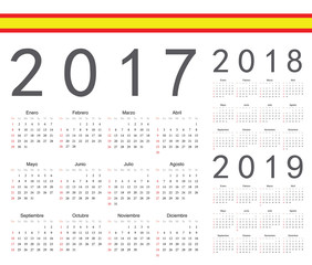 Set of spanish 2017, 2018, 2019 year vector calendars