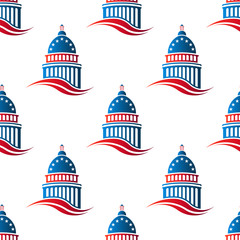 Patriotic Capitol building seamless pattern background. Vector graphic design illustration