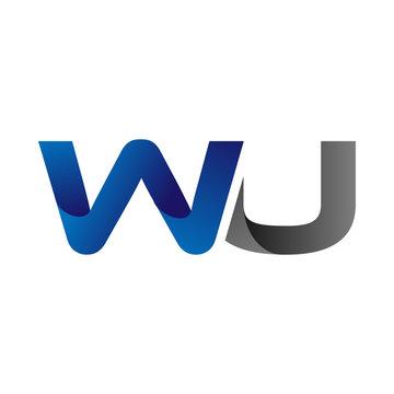 Modern Simple Initial Logo Vector Blue Grey Letters wu