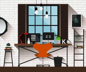 Vector flat illustration workplace in loft interior. Desk concept. Modern design of creative office workspace.