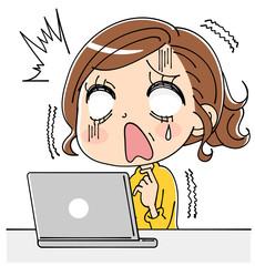 パソコンとショックを受ける女性のイラスト