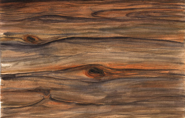 Wood texture. Watercolor hfnd drawing artistic realistic illustration for design, background, textile.