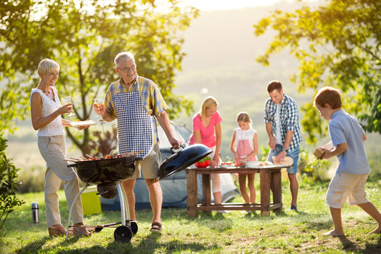 family camping and cooking