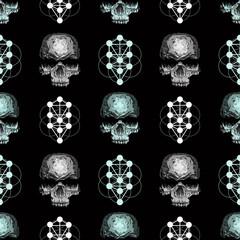 vector seamless pattern skull