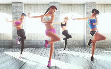 Donne fanno ginnastica palestra fitness