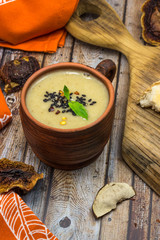Homemade cream soup with dried wild mushrooms