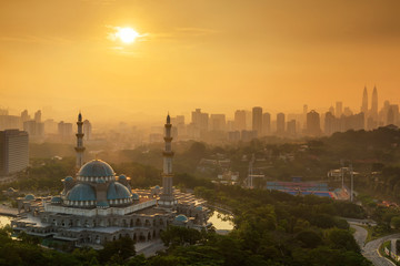 Masjid Wilayah Persekutuan with amazing sunrise sky background