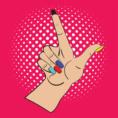 Hand with raised index finger on the bright pink background and white points in the background. Call attention and information with index finger.Female hand made in pop art style, comicks, scetch