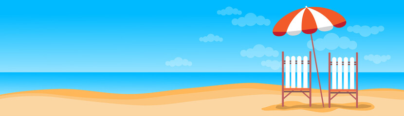Summer Beach Vacation Sunbed With Umbrella Sand Tropical Banner Copy Space