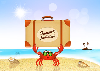 crab with suitcase for summer holidays
