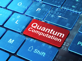 Science concept: Quantum Computation on computer keyboard background