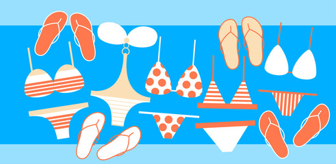 Swim Wear Collection Flip Flops Set Summer Vacation