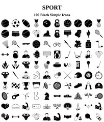 Sport and Fitness 100 icons set for web and mobile