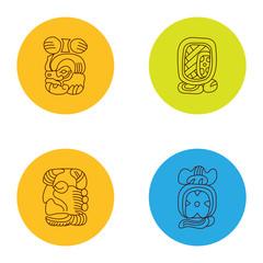 Maya icon in line art style. Cartoon vector illustration. Icon collection. Outline symbol collection. Mayan tattoo. Tiki idol icon. Aztec illustration animal.