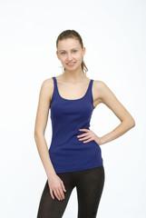 Happy sportswoman in blue