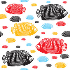 Emperor angelfish colourful seamless vector pattern.