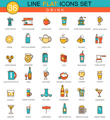 Vector Drinks flat line icon set. Coffee, alcogol and tee. Modern elegant style design  for web.