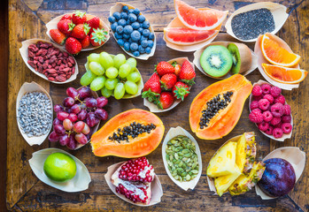 Zelfklevend Fotobehang Vruchten Fruits, berries, nuts, seeds top view.Healthy, detox, superfood.
