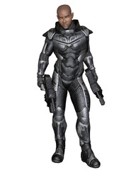 Science fiction illustration of a black male future soldier in protective armoured space suit, standing holding pistols, 3d digitally rendered illustration
