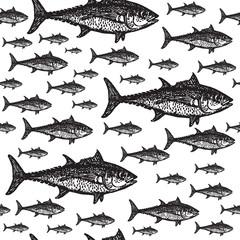 Tuna fish black and white seamless vector pattern.